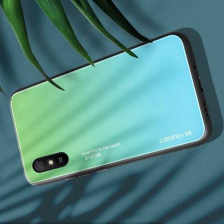 Силиконовый Стеклянный Зеленый Градиентный Корпус Чехол для Телефона Xiaomi Redmi 9A