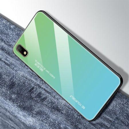 Силиконовый Стеклянный Зеленый / Синий Градиентный Корпус Чехол для Телефона Huawei Honor 8S / Y5 2019