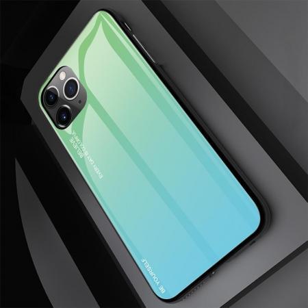 Силиконовый Стеклянный Зеленый / Синий Градиентный Корпус Чехол для Телефона iPhone 11 Pro