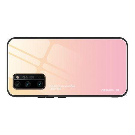 Силиконовый Стеклянный Желтый Градиентный Корпус Чехол для Телефона Huawei Honor 30 Pro