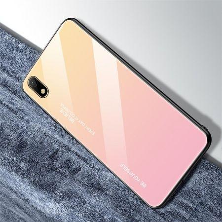 Силиконовый Стеклянный Золотой / Розовый Градиентный Корпус Чехол для Телефона Huawei Honor 8S / Y5 2019
