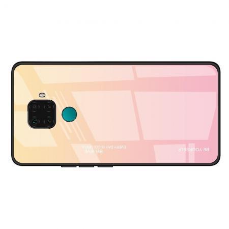 Силиконовый Стеклянный Золотой / Розовый Градиентный Корпус Чехол для Телефона Huawei Mate 30 Lite