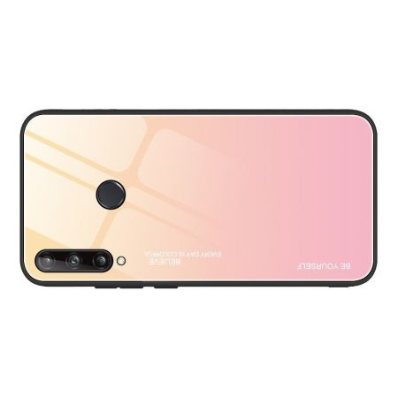 Силиконовый Стеклянный Золотой / Розовый Градиентный Корпус Чехол для Телефона Huawei P40 lite E