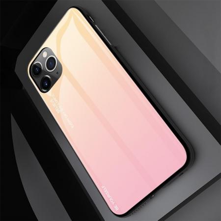 Силиконовый Стеклянный Золотой / Розовый Градиентный Корпус Чехол для Телефона iPhone 11 Pro