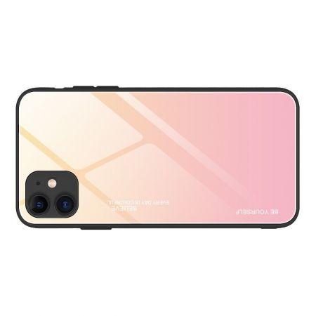 Силиконовый Стеклянный Золотой / Розовый Градиентный Корпус Чехол для Телефона iPhone 12 Pro 6.1 / Max 6.1