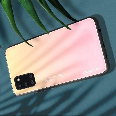 Силиконовый Стеклянный Золотой / Розовый Градиентный Корпус Чехол для Телефона Samsung Galaxy A31