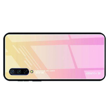 Силиконовый Стеклянный Золотой / Розовый Градиентный Корпус Чехол для Телефона Xiaomi Mi 9 Lite
