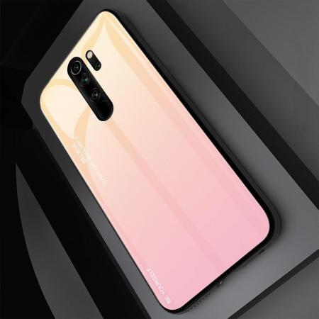 Силиконовый Стеклянный Золотой / Розовый Градиентный Корпус Чехол для Телефона Xiaomi Redmi Note 8 Pro