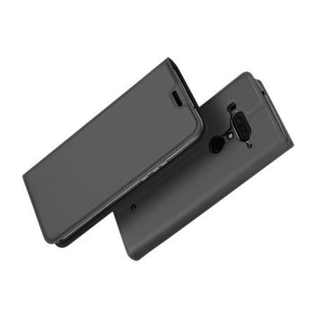 Тонкий Флип Чехол Книжка с Скрытым Магнитом и Отделением для Карты для HTC U12+ Черный