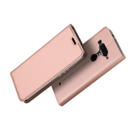 Тонкий Флип Чехол Книжка с Скрытым Магнитом и Отделением для Карты для HTC U12+ Розовое Золото