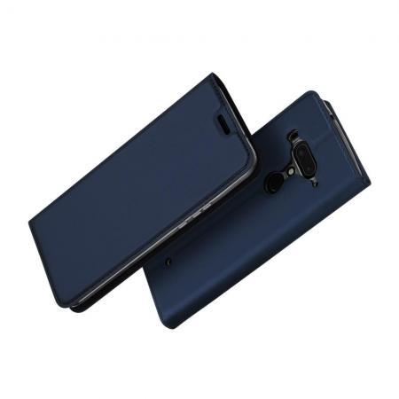 Тонкий Флип Чехол Книжка с Скрытым Магнитом и Отделением для Карты для HTC U12+ Синий