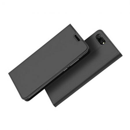 Тонкий Флип Чехол Книжка с Скрытым Магнитом и Отделением для Карты для Huawei Honor 10 Черный