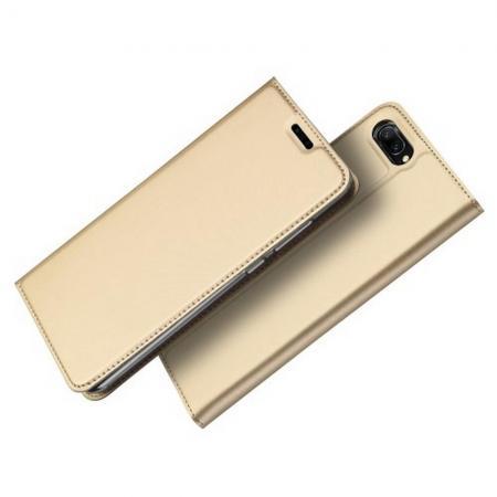 Тонкий Флип Чехол Книжка с Скрытым Магнитом и Отделением для Карты для Huawei Honor 10 Золотой