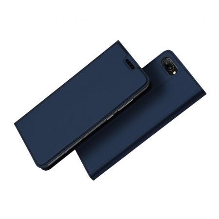 Тонкий Флип Чехол Книжка с Скрытым Магнитом и Отделением для Карты для Huawei Honor 10 Синий