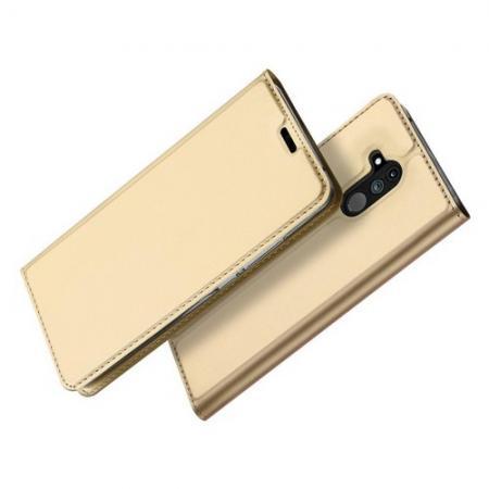 Тонкий Флип Чехол Книжка с Скрытым Магнитом и Отделением для Карты для Huawei Mate 20 Lite Золотой