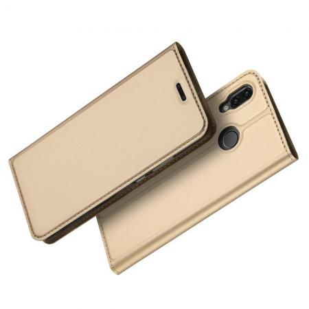 Тонкий Флип Чехол Книжка с Скрытом Магнитом и Отделением для Карты для Huawei P20 lite Золотой