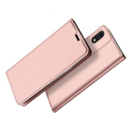 Тонкий Флип Чехол Книжка с Скрытым Магнитом и Отделением для Карты для iPhone XR Розовое Золото