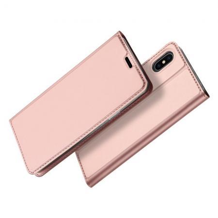 Тонкий Флип Чехол Книжка с Скрытым Магнитом и Отделением для Карты для iPhone XS Max Розовое Золото