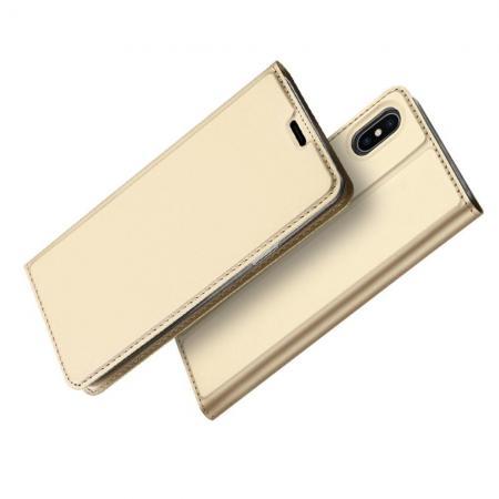 Тонкий Флип Чехол Книжка с Скрытым Магнитом и Отделением для Карты для iPhone XS Max Золотой