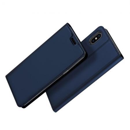 Тонкий Флип Чехол Книжка с Скрытым Магнитом и Отделением для Карты для iPhone XS Max Синий