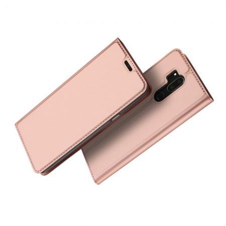 Тонкий Флип Чехол Книжка с Скрытым Магнитом и Отделением для Карты для LG G7 ThinQ Розовое Золото