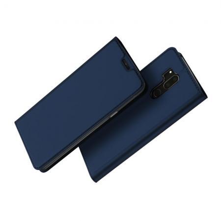 Тонкий Флип Чехол Книжка с Скрытым Магнитом и Отделением для Карты для LG G7 ThinQ Синий