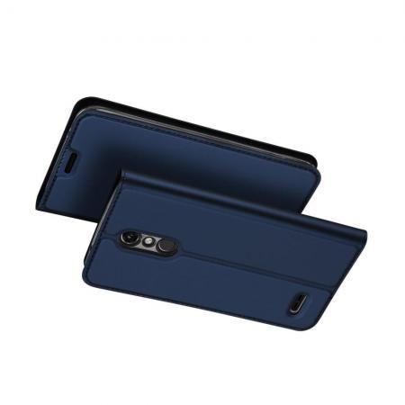 Тонкий Флип Чехол Книжка с Скрытым Магнитом и Отделением для Карты для LG K11 Синий