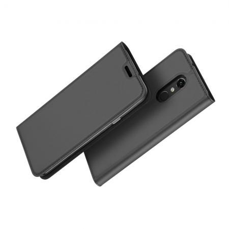 Тонкий Флип Чехол Книжка с Скрытым Магнитом и Отделением для Карты для LG Q Stylus+ Черный