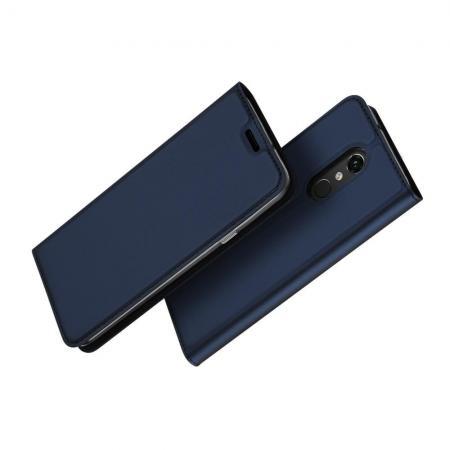 Тонкий Флип Чехол Книжка с Скрытым Магнитом и Отделением для Карты для LG Q Stylus+ Синий