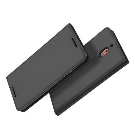 Тонкий Флип Чехол Книжка с Скрытым Магнитом и Отделением для Карты для Nokia 2.1 2018 Черный