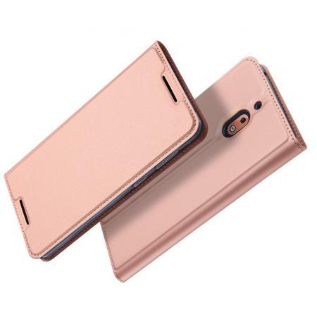 Тонкий Флип Чехол Книжка с Скрытым Магнитом и Отделением для Карты для Nokia 2.1 2018 Розовое Золото