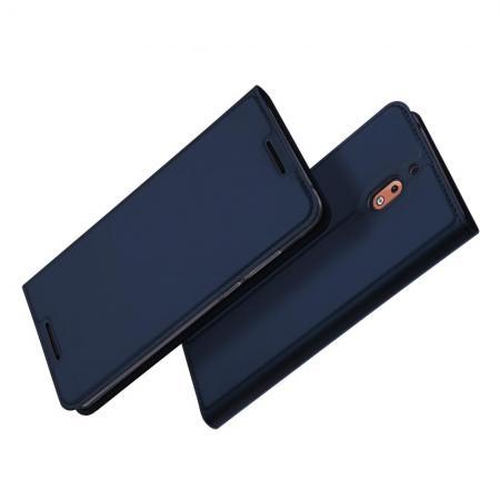 Тонкий Флип Чехол Книжка с Скрытым Магнитом и Отделением для Карты для Nokia 2.1 2018 Синий