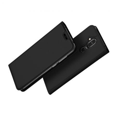 Тонкий Флип Чехол Книжка с Скрытым Магнитом и Отделением для Карты для Nokia 8.1 Черный