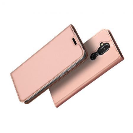 Тонкий Флип Чехол Книжка с Скрытым Магнитом и Отделением для Карты для Nokia 8.1 Розовое Золото