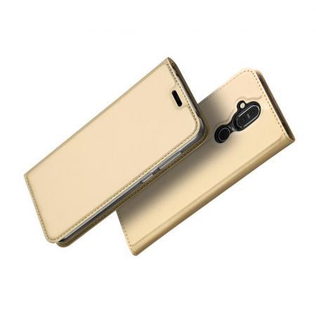 Тонкий Флип Чехол Книжка с Скрытым Магнитом и Отделением для Карты для Nokia 8.1 Золотой
