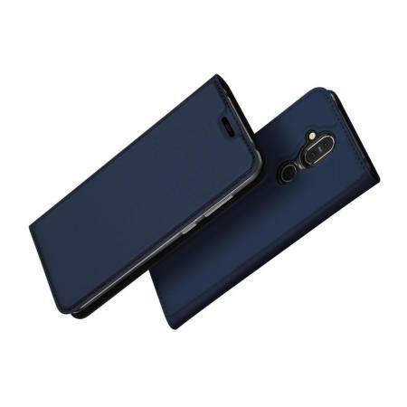 Тонкий Флип Чехол Книжка с Скрытом Магнитом и Отделением для Карты для Nokia 8.1 Синий