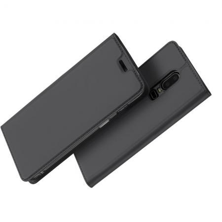 Тонкий Флип Чехол Книжка с Скрытом Магнитом и Отделением для Карты для OnePlus 6 Черный