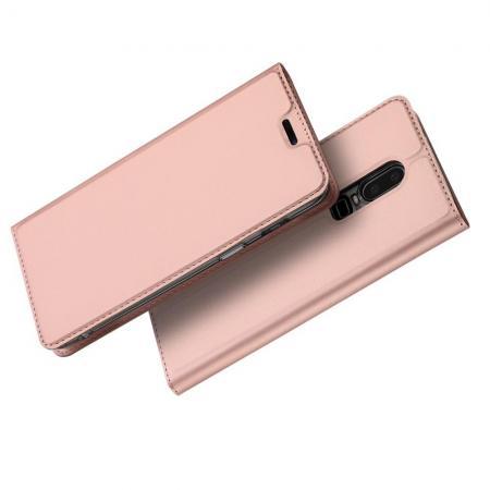 Тонкий Флип Чехол Книжка с Скрытом Магнитом и Отделением для Карты для OnePlus 6 Розовое Золото