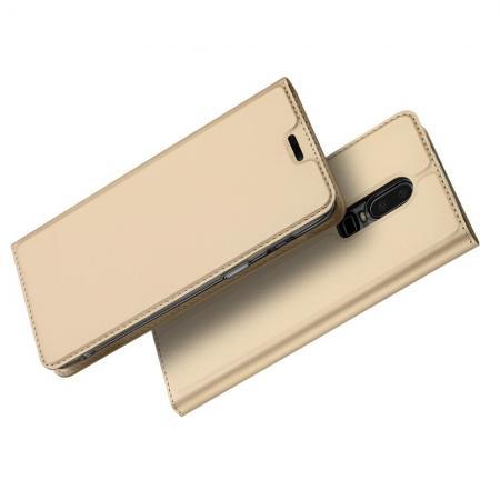 Тонкий Флип Чехол Книжка с Скрытым Магнитом и Отделением для Карты для OnePlus 6 Золотой