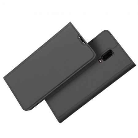 Тонкий Флип Чехол Книжка с Скрытым Магнитом и Отделением для Карты для Oneplus 6T Черный