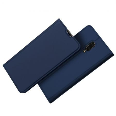 Тонкий Флип Чехол Книжка с Скрытым Магнитом и Отделением для Карты для Oneplus 6T Синий