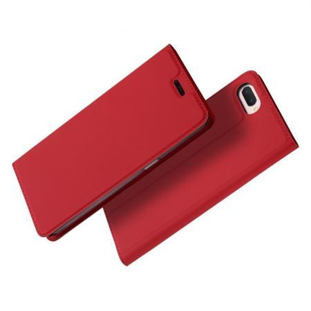 Тонкий Флип Чехол Книжка с Скрытым Магнитом и Отделением для Карты для Oppo A5 Красный