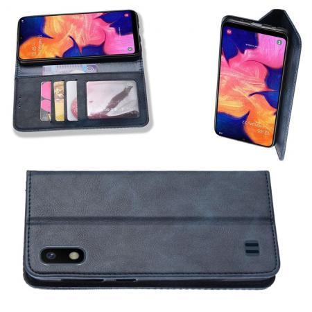 Тонкий Флип Чехол Книжка с Скрытым Магнитом и Отделением для Карты для Samsung Galaxy A10 Синий