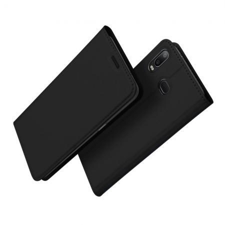Тонкий Флип Чехол Книжка с Скрытым Магнитом и Отделением для Карты для Samsung Galaxy A6s Черный