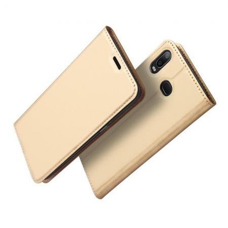 Тонкий Флип Чехол Книжка с Скрытым Магнитом и Отделением для Карты для Samsung Galaxy A6s Золотой