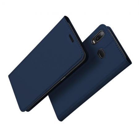 Тонкий Флип Чехол Книжка с Скрытым Магнитом и Отделением для Карты для Samsung Galaxy A6s Синий