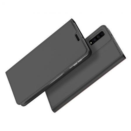 Тонкий Флип Чехол Книжка с Скрытым Магнитом и Отделением для Карты для Samsung Galaxy A7 2018 SM-A750 Черный