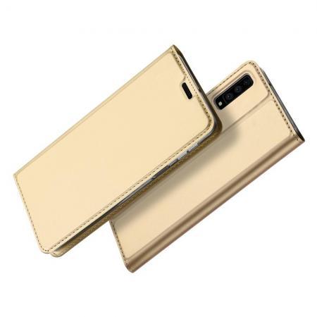 Тонкий Флип Чехол Книжка с Скрытым Магнитом и Отделением для Карты для Samsung Galaxy A7 2018 SM-A750 Золотой