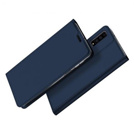 Тонкий Флип Чехол Книжка с Скрытым Магнитом и Отделением для Карты для Samsung Galaxy A7 2018 SM-A750 Синий
