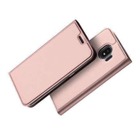 Тонкий Флип Чехол Книжка с Скрытым Магнитом и Отделением для Карты для Samsung Galaxy J4 2018 SM-J400 Розовое Золото